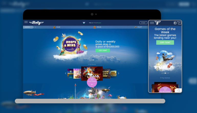 Image showing Sloty Casino on mobile and desktop