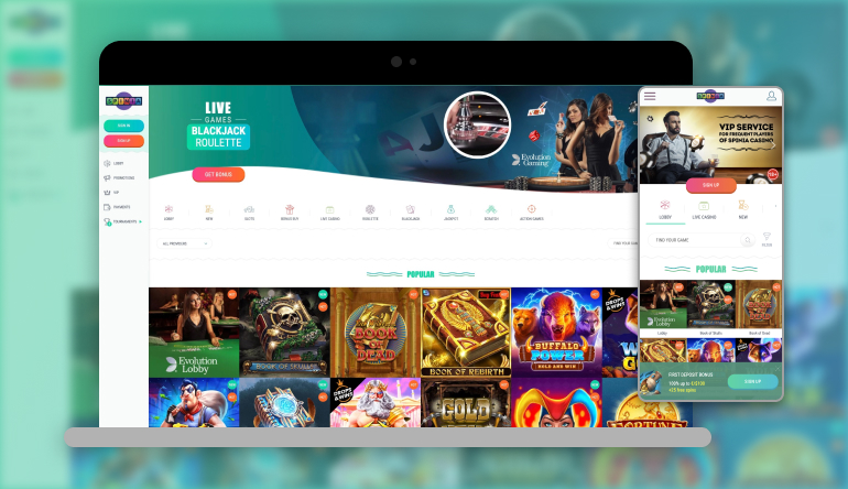 Image showing Spinia Casino on mobile and desktop