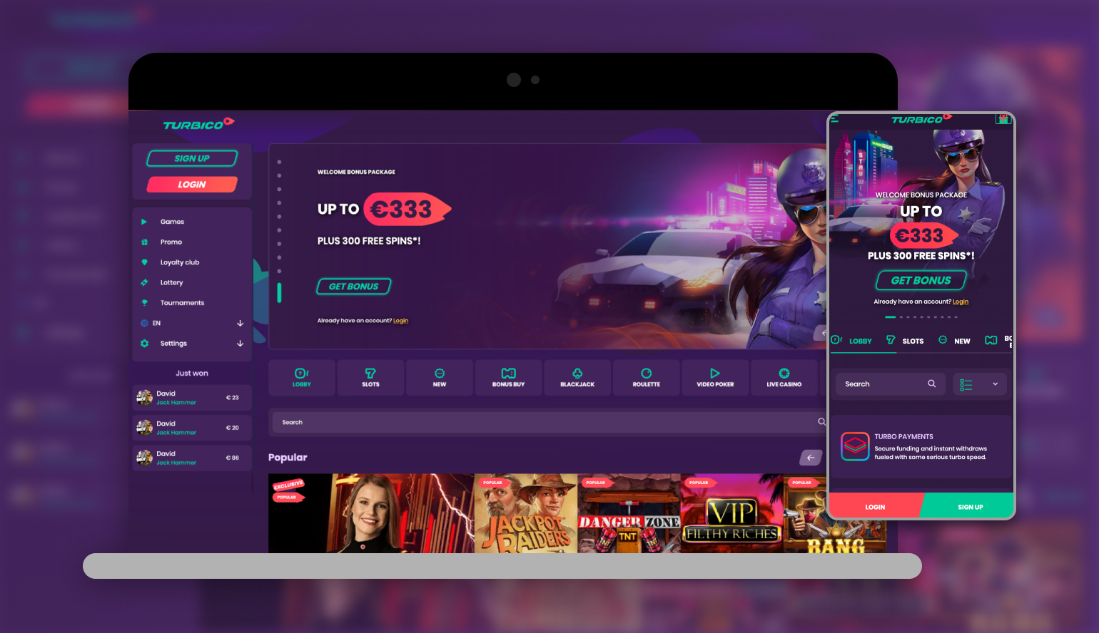 Image showing Turbico Casino on mobile and desktop