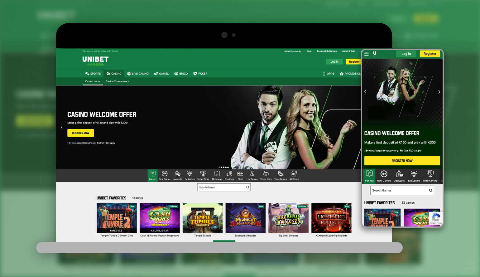 Image showing Unibet Casino on mobile and desktop