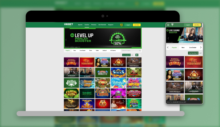 Image showing Unibet NJ on mobile and desktop