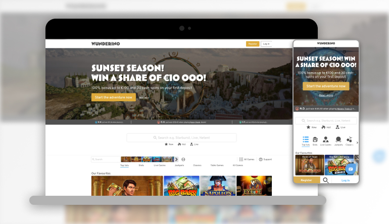 Image showing Wunderino Casino on mobile and desktop