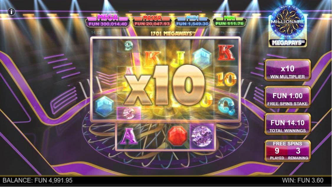 Millionaire Megapays increasing multipliers