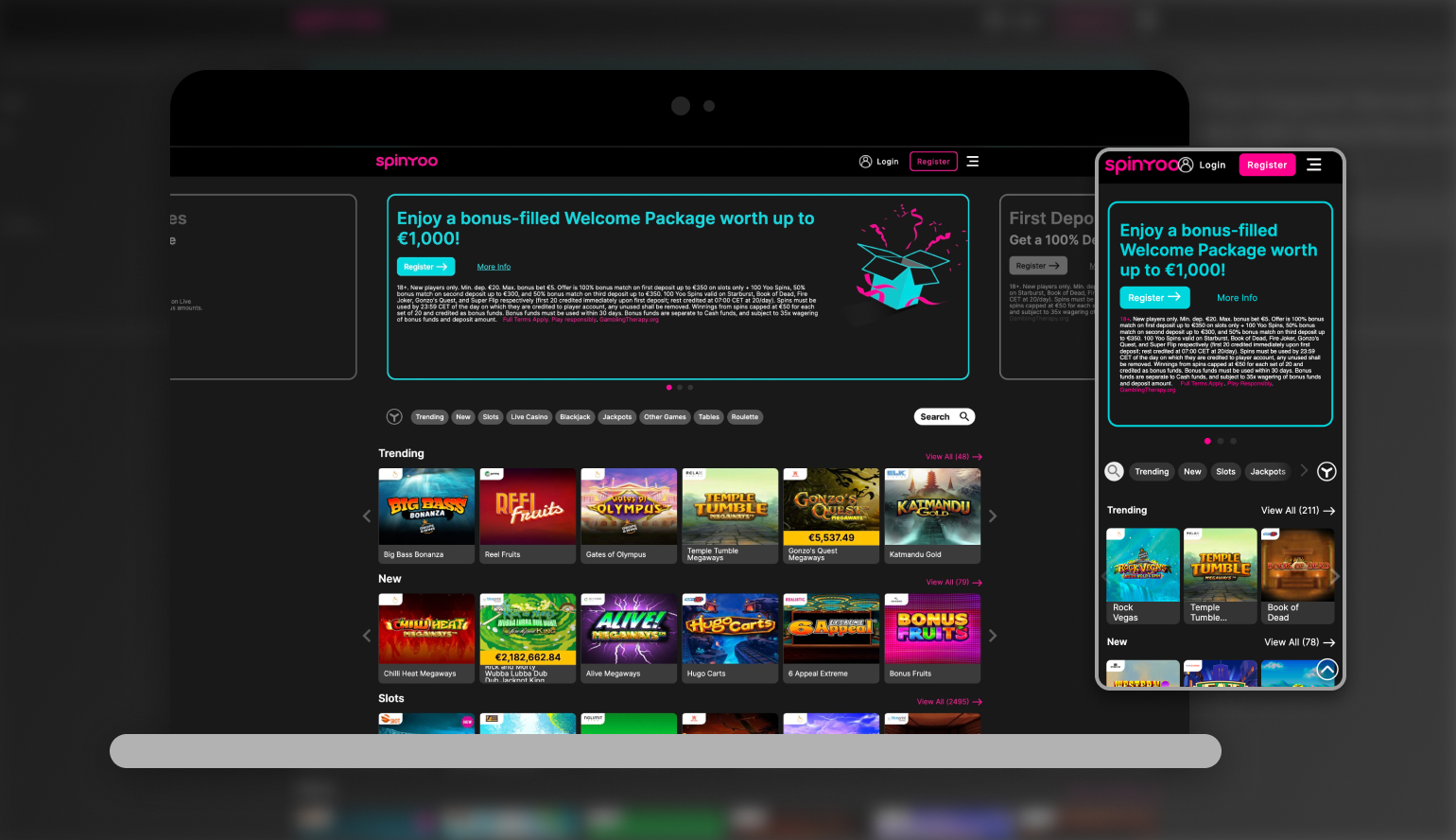 Image showing SpinYoo Casino on mobile and desktop