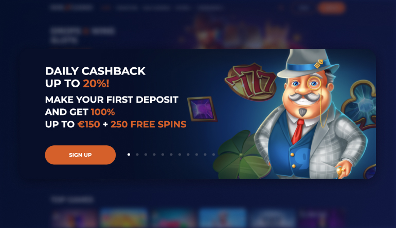 Welcome offer at Nine Casino