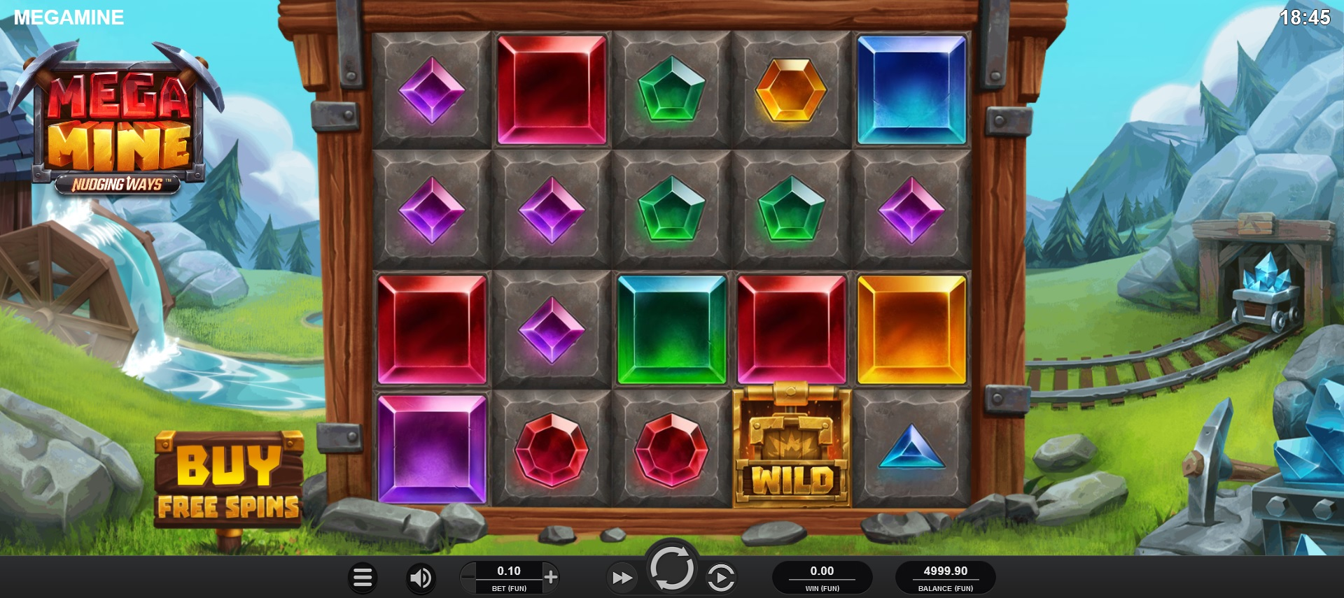 Mega Mine Nudging Ways Reels during Main Game