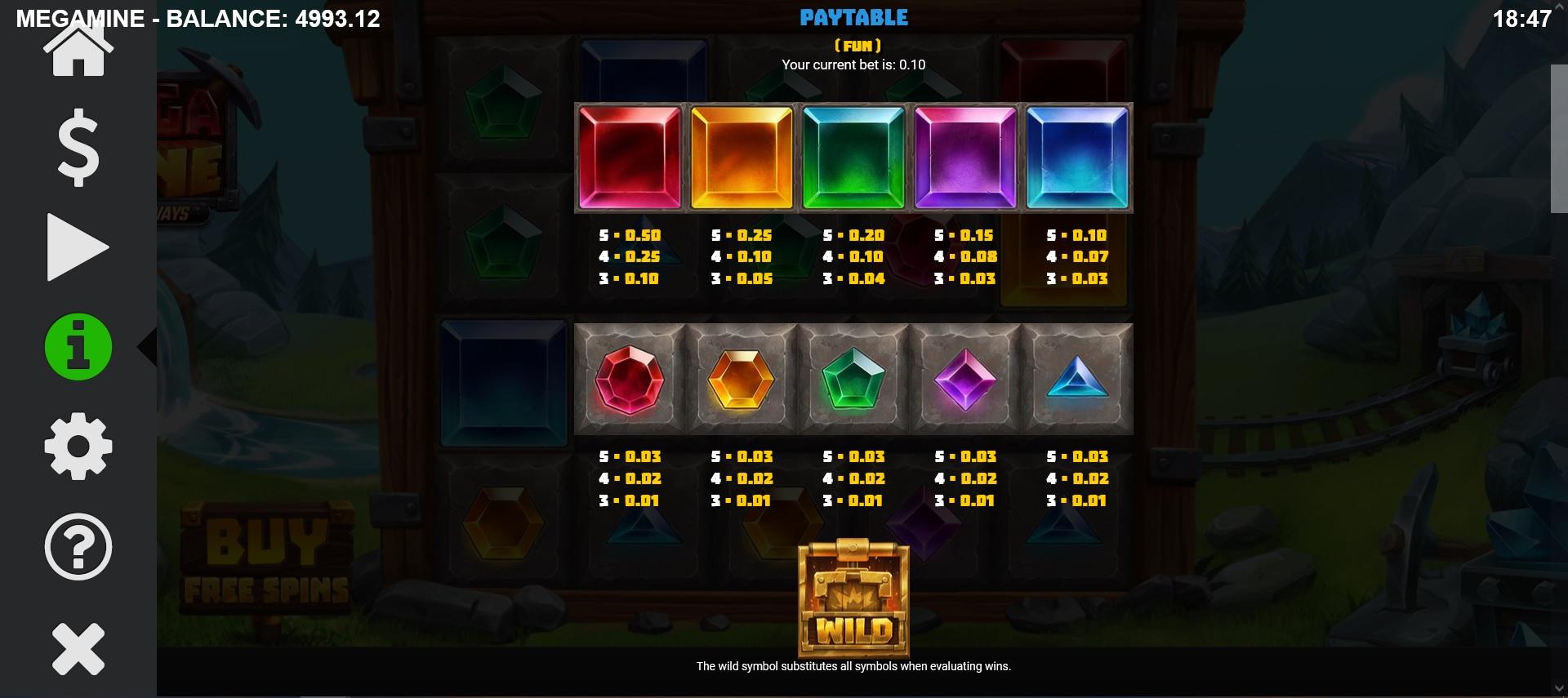 Mega Mine Nudging Ways Paytable