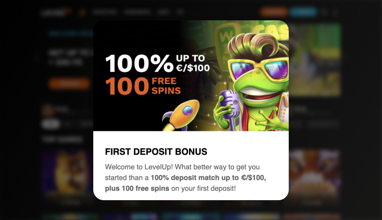 LevelUp Casino Welcome offer