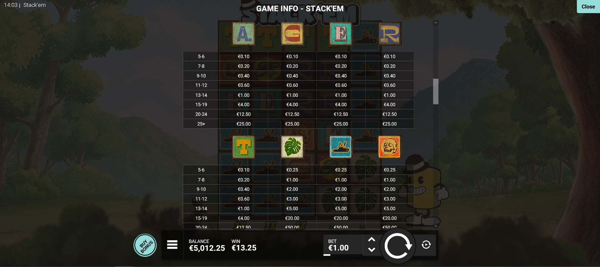 Paytable on Stack em slot from hacksaw gaming