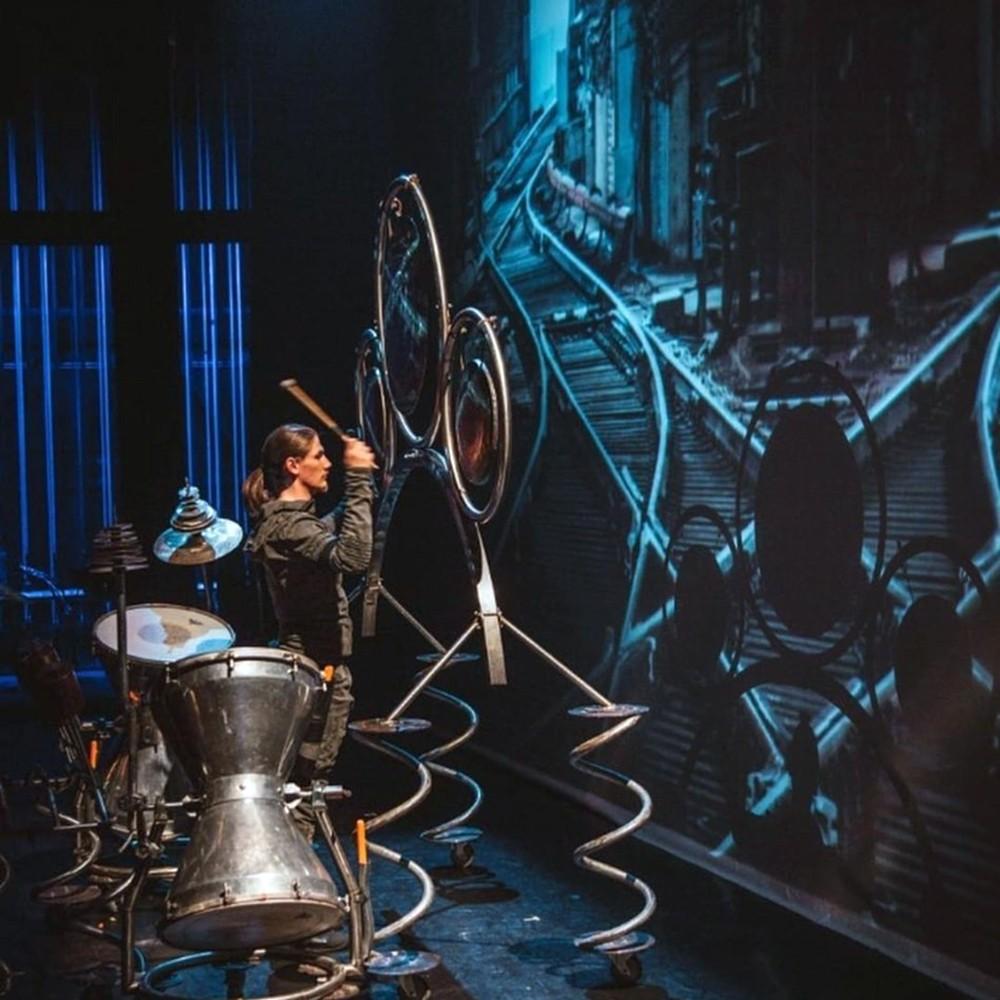Chris playing gong