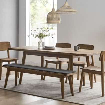 Seb Extendable Dining Table With Bench, Dining Room Bench