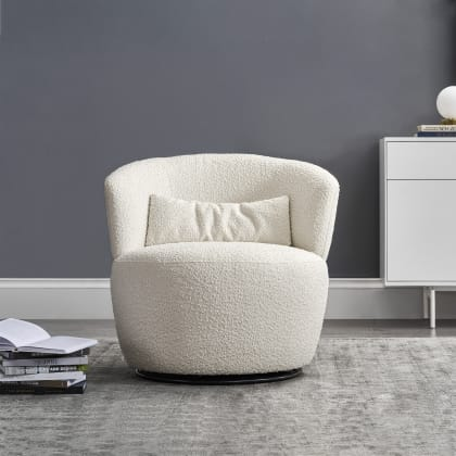 Amber Bouclé Swivel Chair Single Snow, Swivel Chairs For Living Room