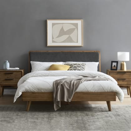 Seb Bed With 2 Bedside Tables, Queen Bed And Bedside Tables