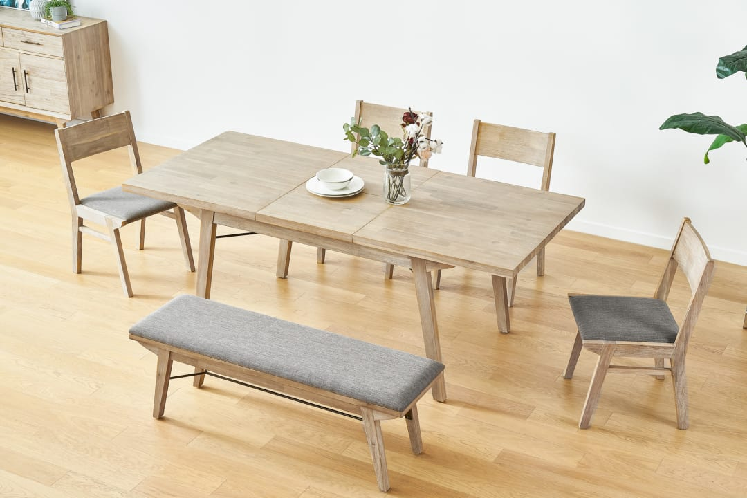 official photos d1015 cae4c Miles Extendable Dining Table with Bench and 2 Chairs