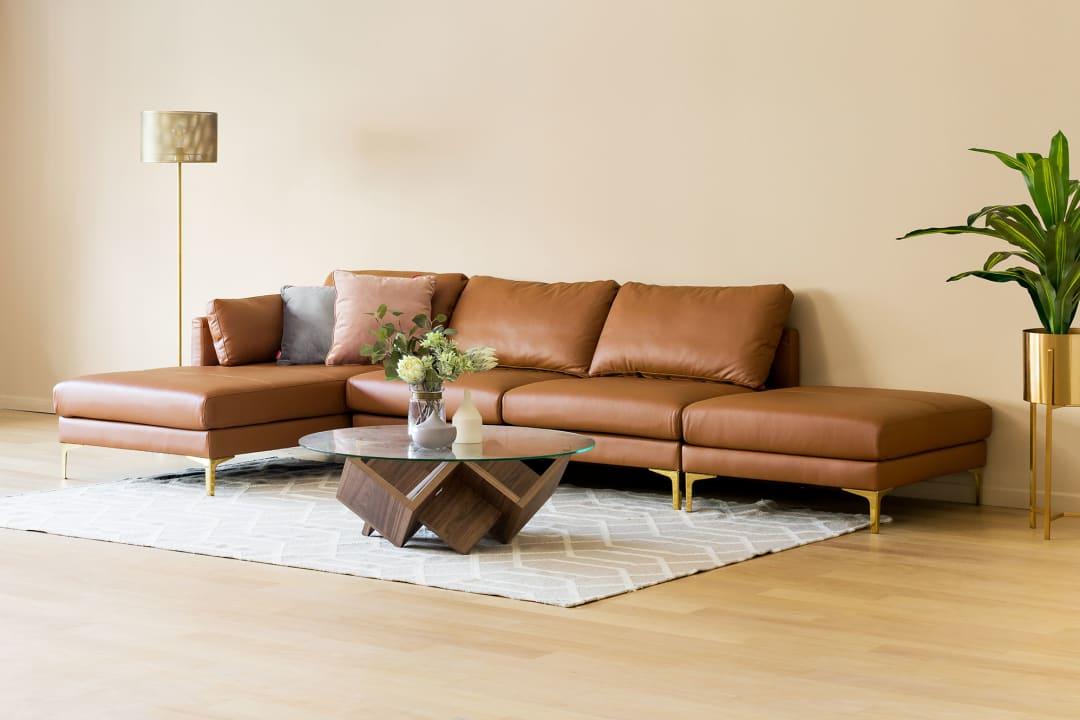 Groovy Adams Chaise Sectional Sofa With Ottoman Leather Customarchery Wood Chair Design Ideas Customarcherynet