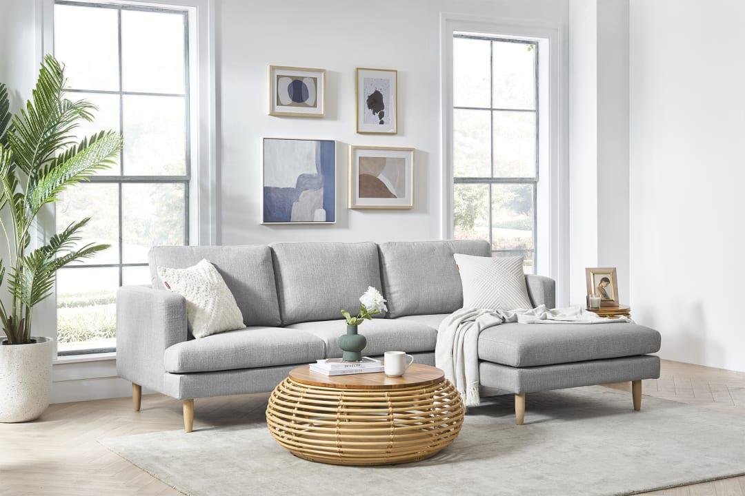 Tana Sectional Sofa Light Gray Left Facing Castlery United States