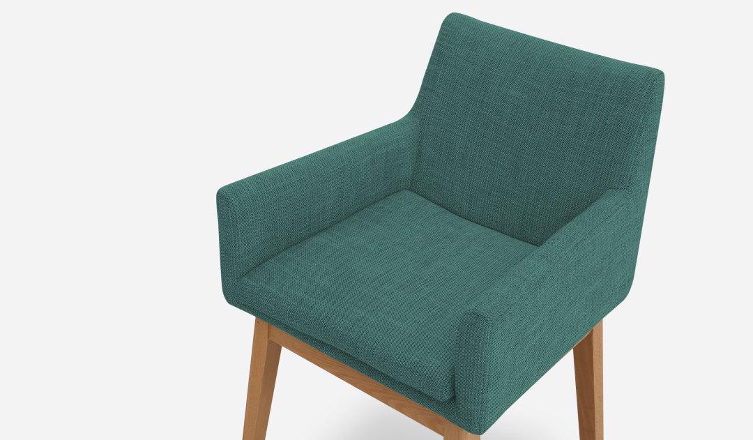 Lewis Arm Chair Natural Med Blue SB