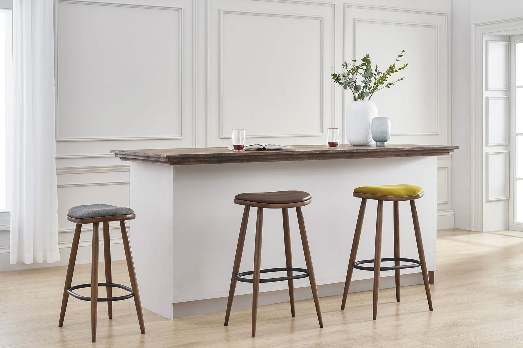 Mid-century modern home bar with bar and counter stool