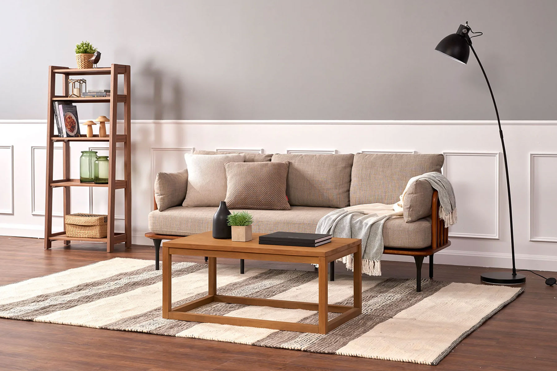 Mid-century modern sofa with coffee table, shelf and standing lamp