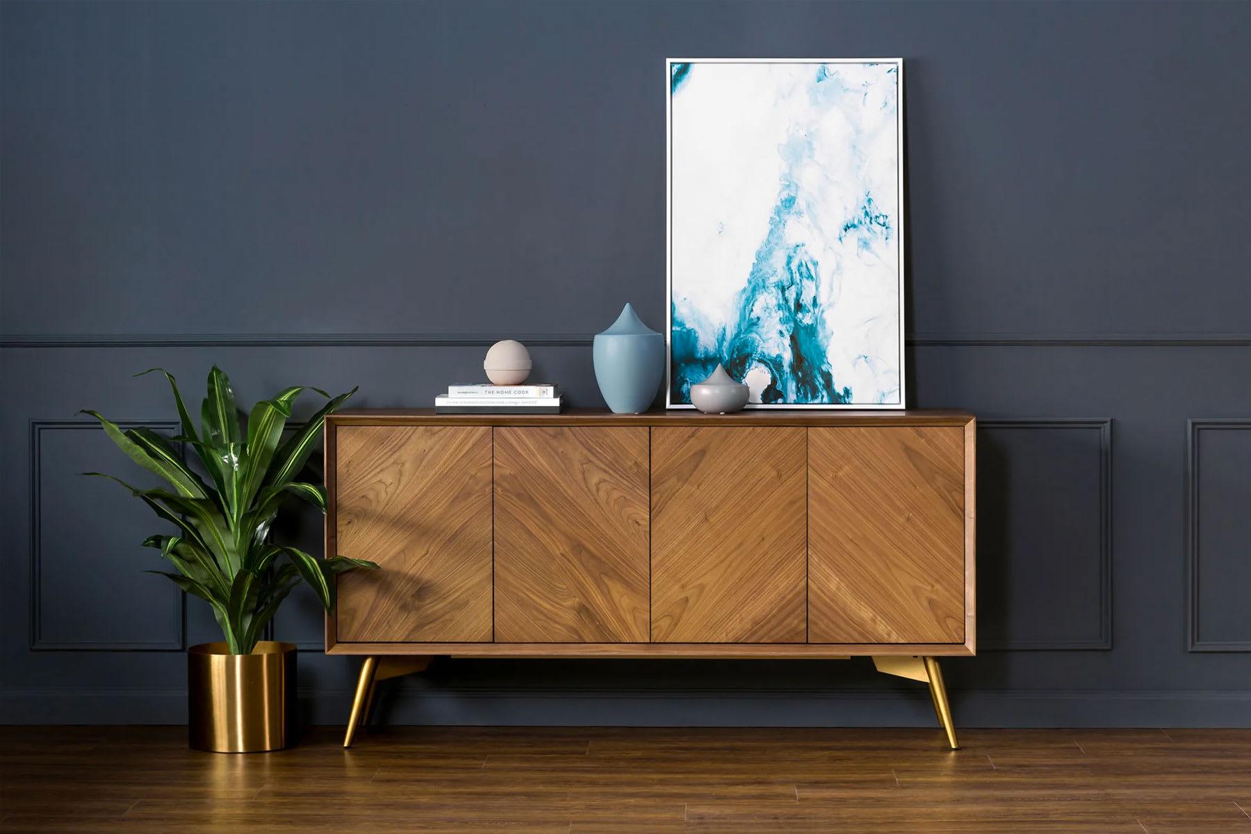 mid-century modern sideboard in modern living room