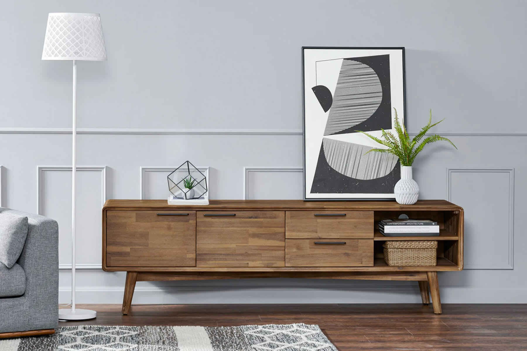 mid-century modern wooden tv stand in living room