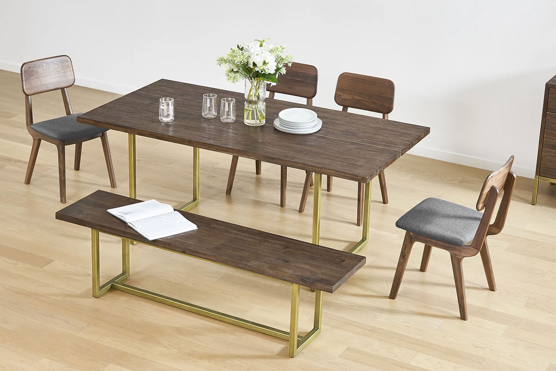 wood dining set with dining table, bench and chairs
