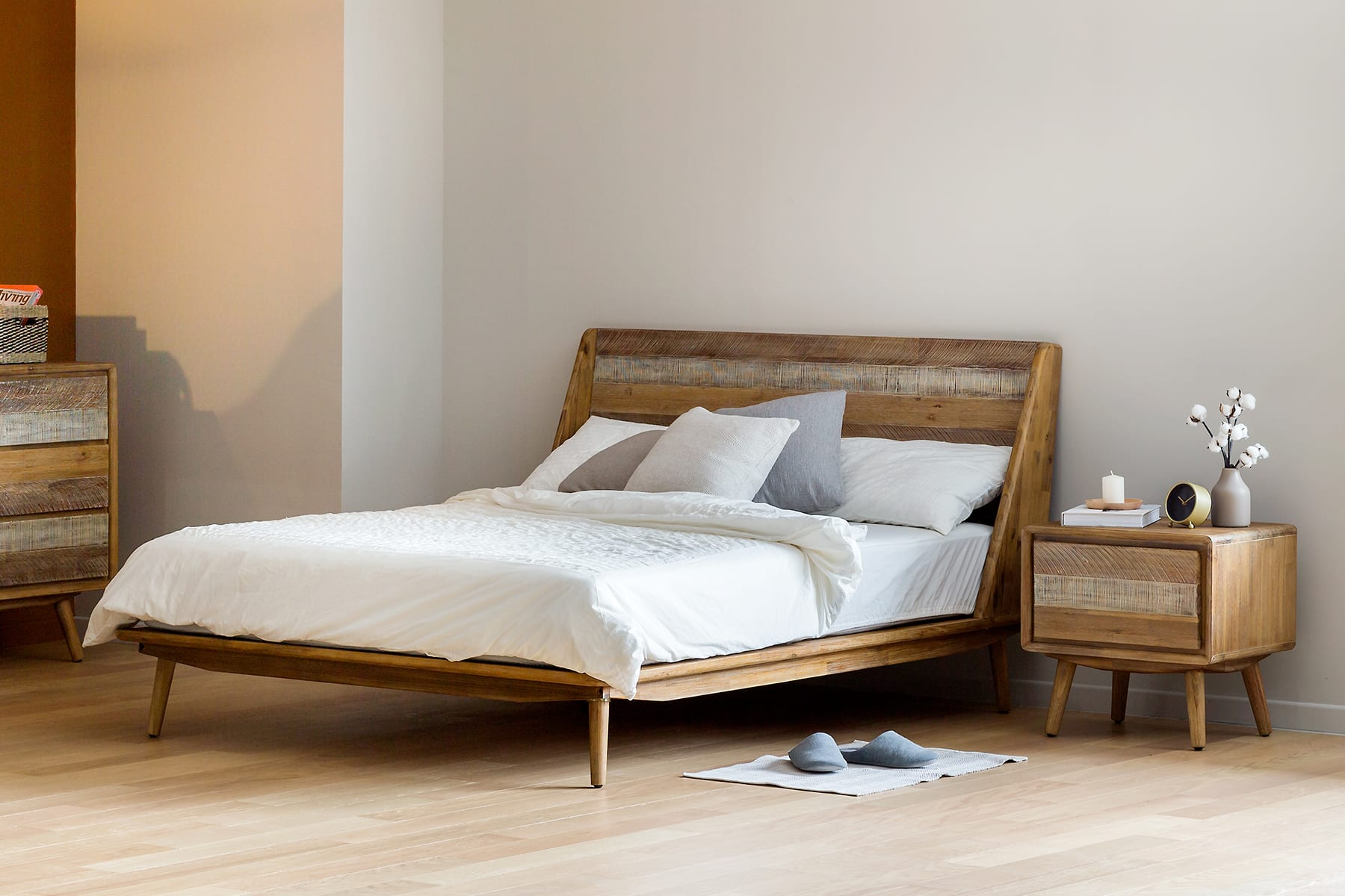 wooden bed frame, with bedside table, sideboard and table lamp