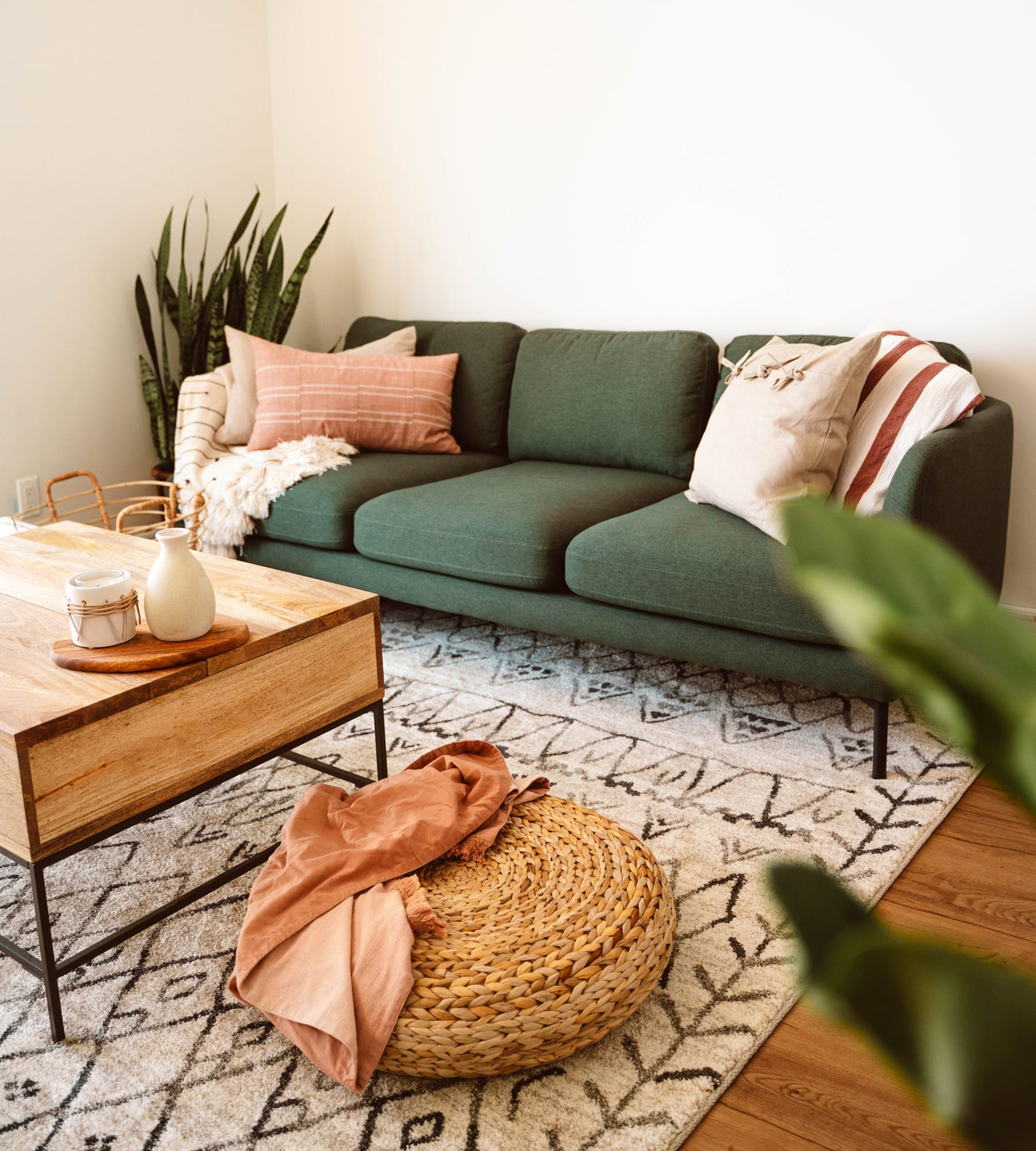 minimalist fabric 3-seater sofa