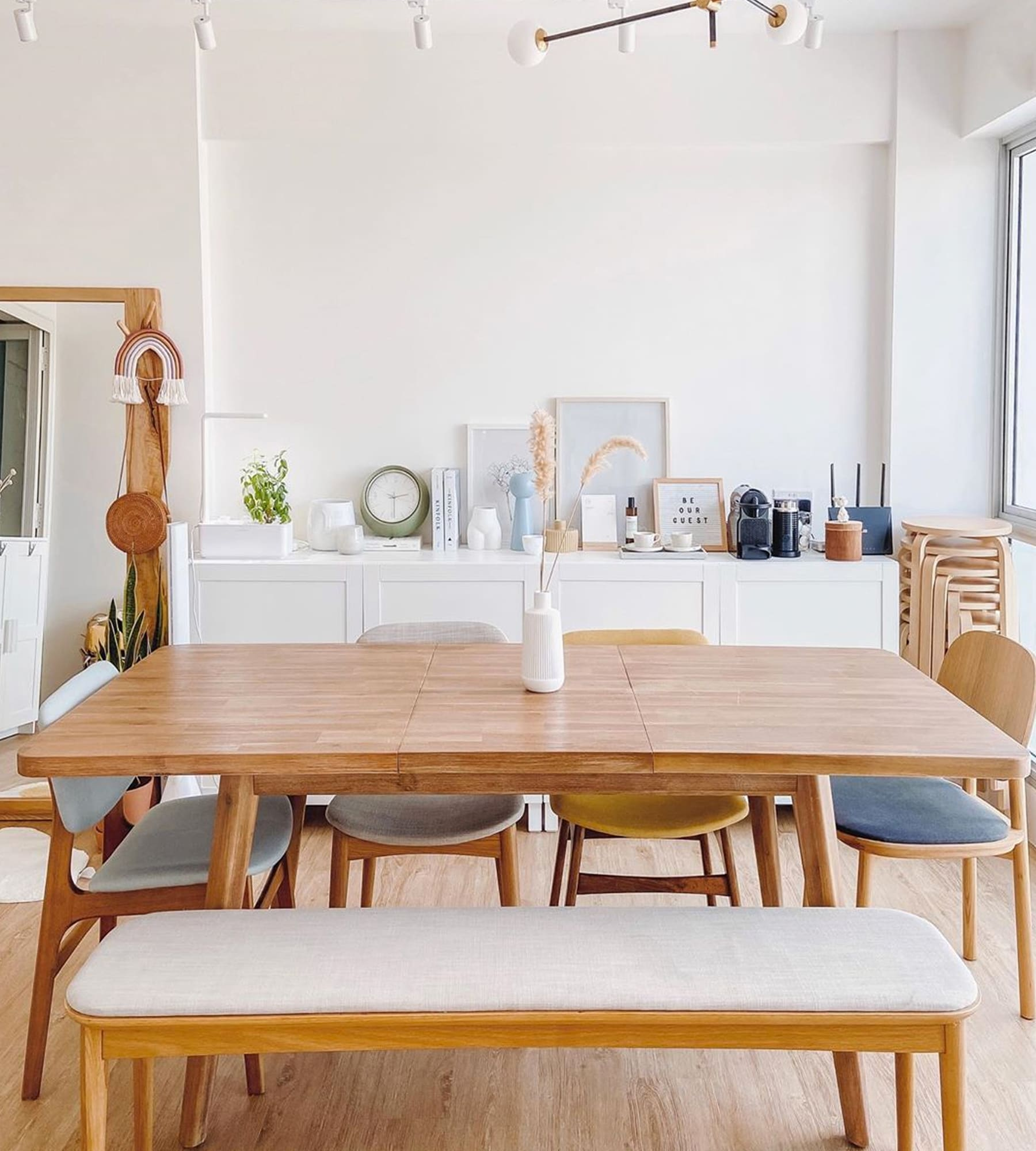 minimalist wood dining table, chairs and dining bench