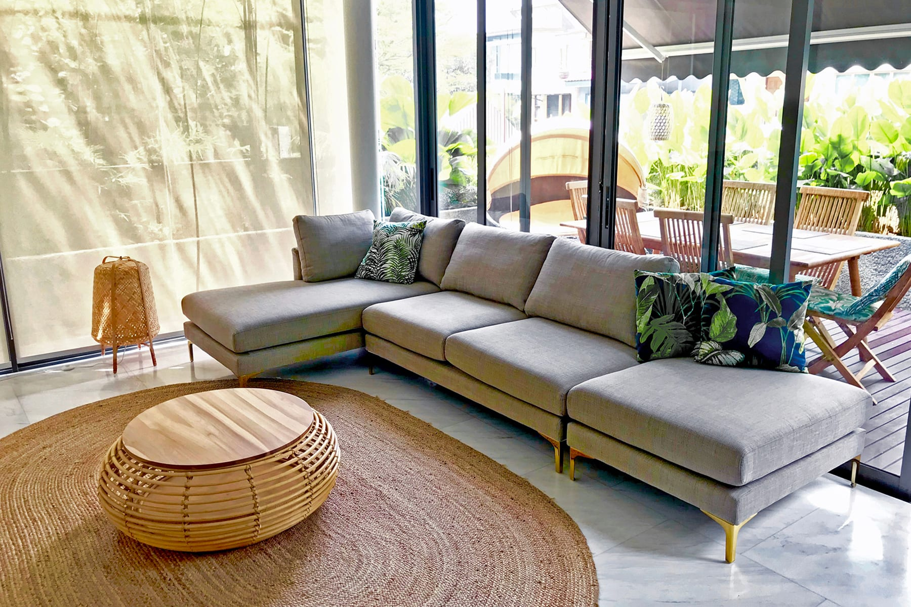 modular chaise sectional sofa and rattan coffee table