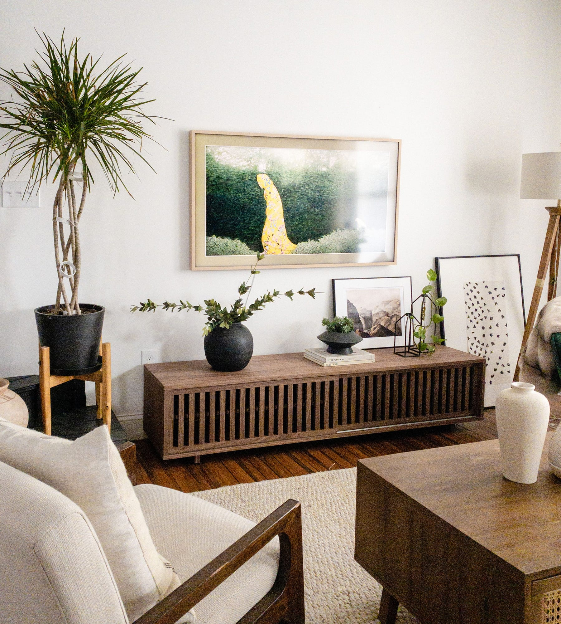 walnut wood TV console