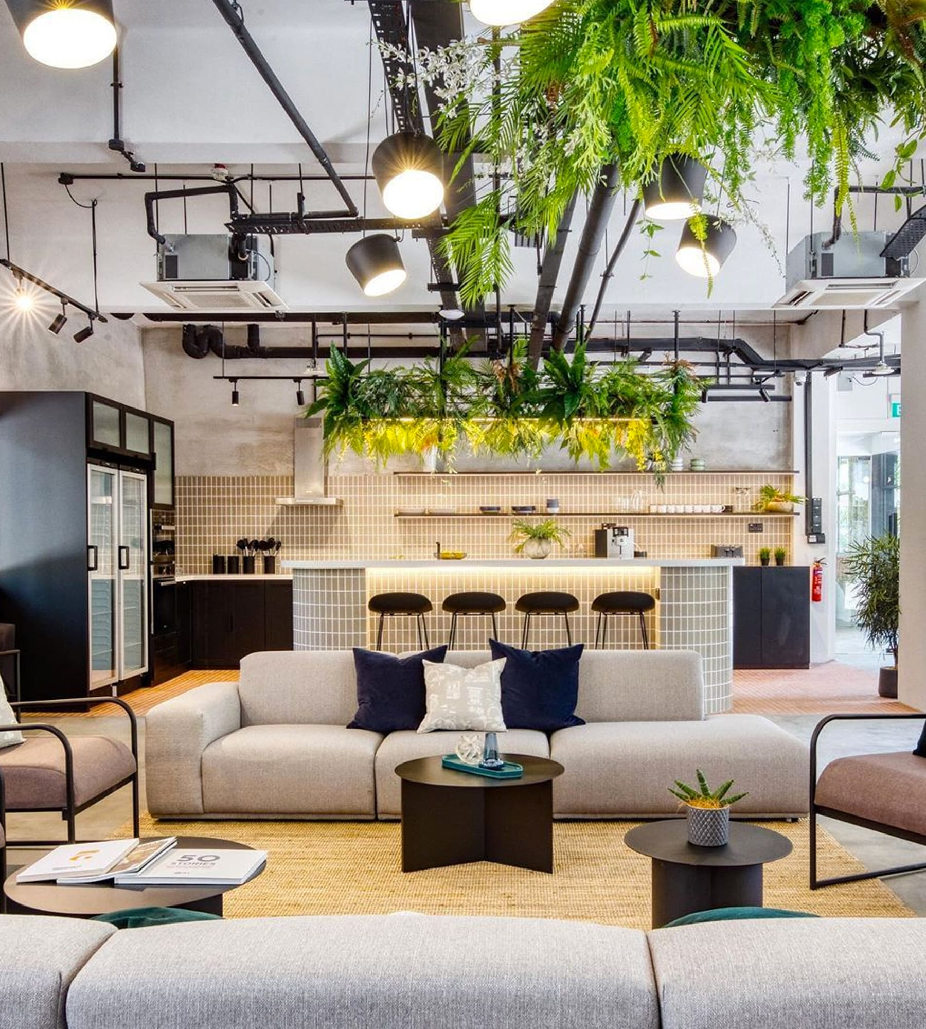 grey modular sofa in an industrial living room with plants hanging from exposed pipes on the ceiling