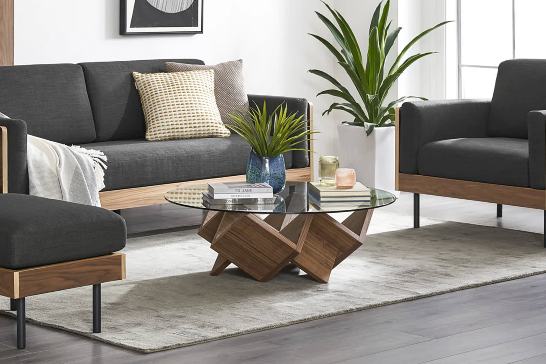 geometric wood and glass coffee table and fabric sofa set