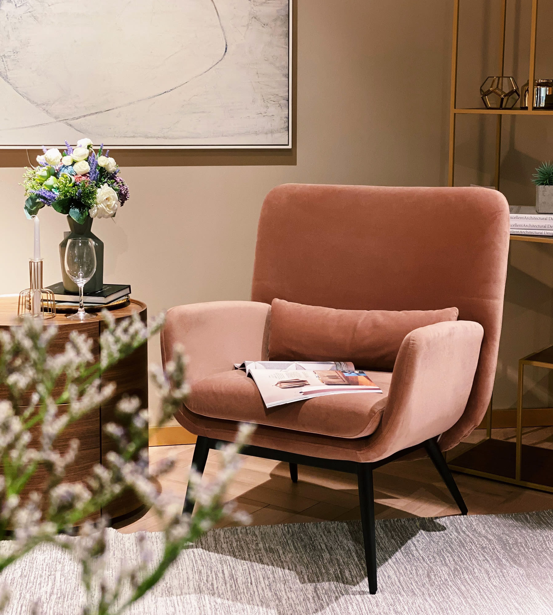 contemporary pink velvet armchair