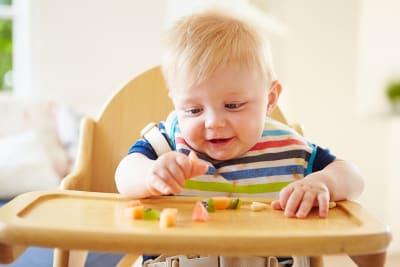 kinderstoel eten groente fruit peuter hapje fruithapje