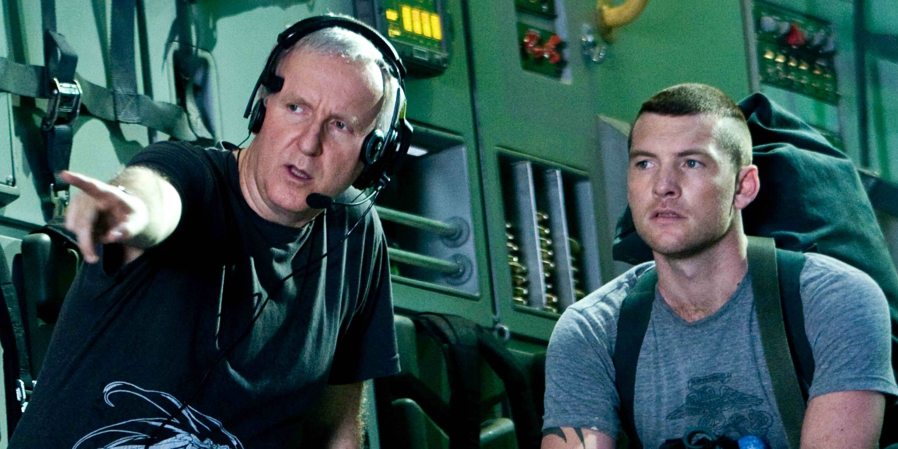 James Cameron and Sam Worthington
