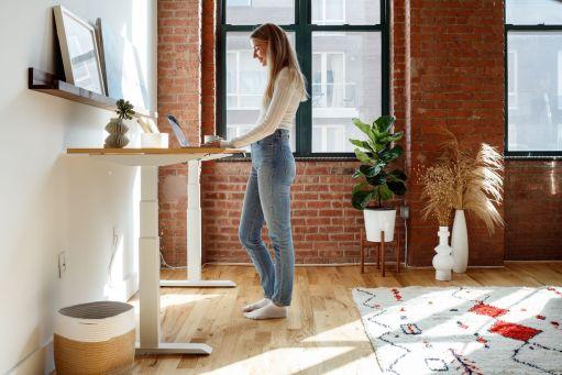 Verity Sylvester using a standing desk