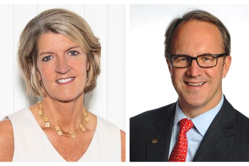 Beth Ford '95, president and CEO of Land O'Lakes, and Doug Baker, chairman and CEO of Ecolab