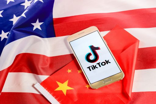 US China flags Tik Tok