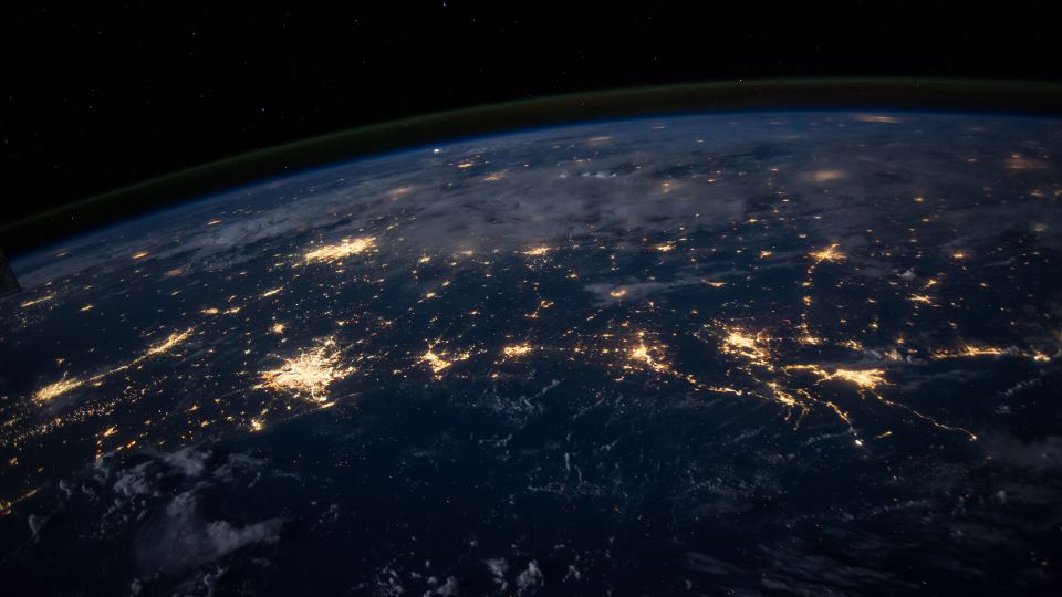 An image of the earth at night from space