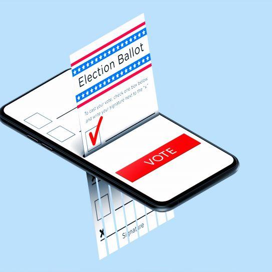 Voting ballot put through smartphone
