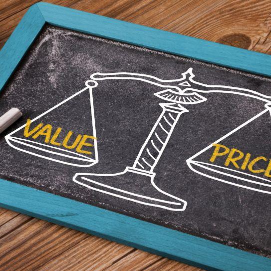 value price chalkboard.