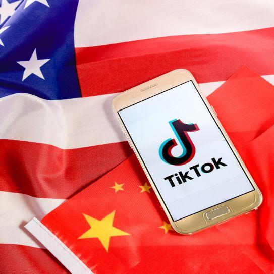 US China flags Tik Tok