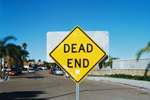 """A photograph of a street sign reading """"dead end"""""""