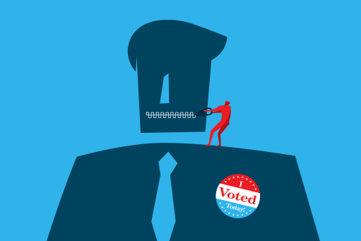 Person with a zipper mouth and I voted sticker