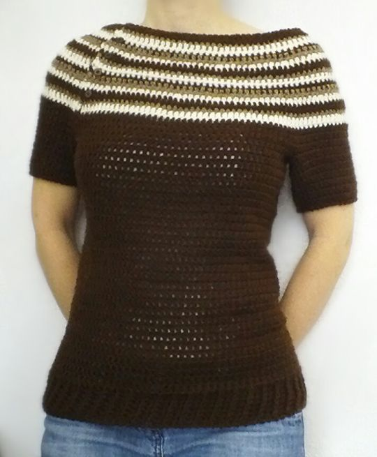 5afe04d7e2b3 Brown Top-down Short Sleeved Sweater - Crochet creation by ...