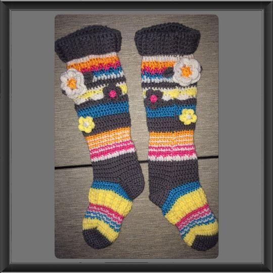 Funky Flower Knee High Socks Crochet Creation By Alana Judah