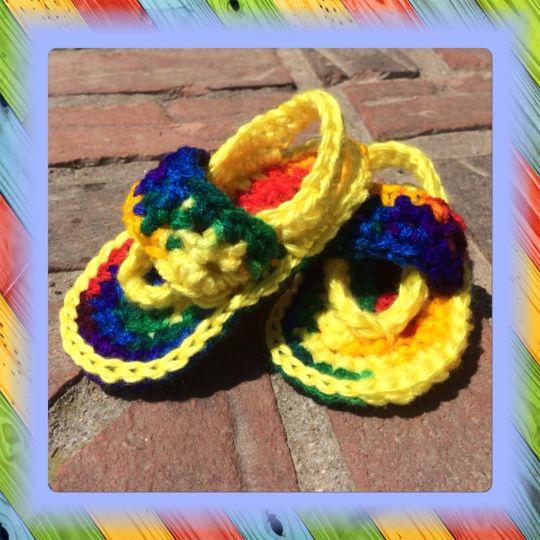 34f5d6486 Tie-Dye Look Baby Sandals - Crochet creation by Alana Judah ...
