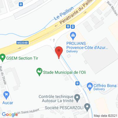 Map - CASH ALIMENTAIRE DU SUD EST