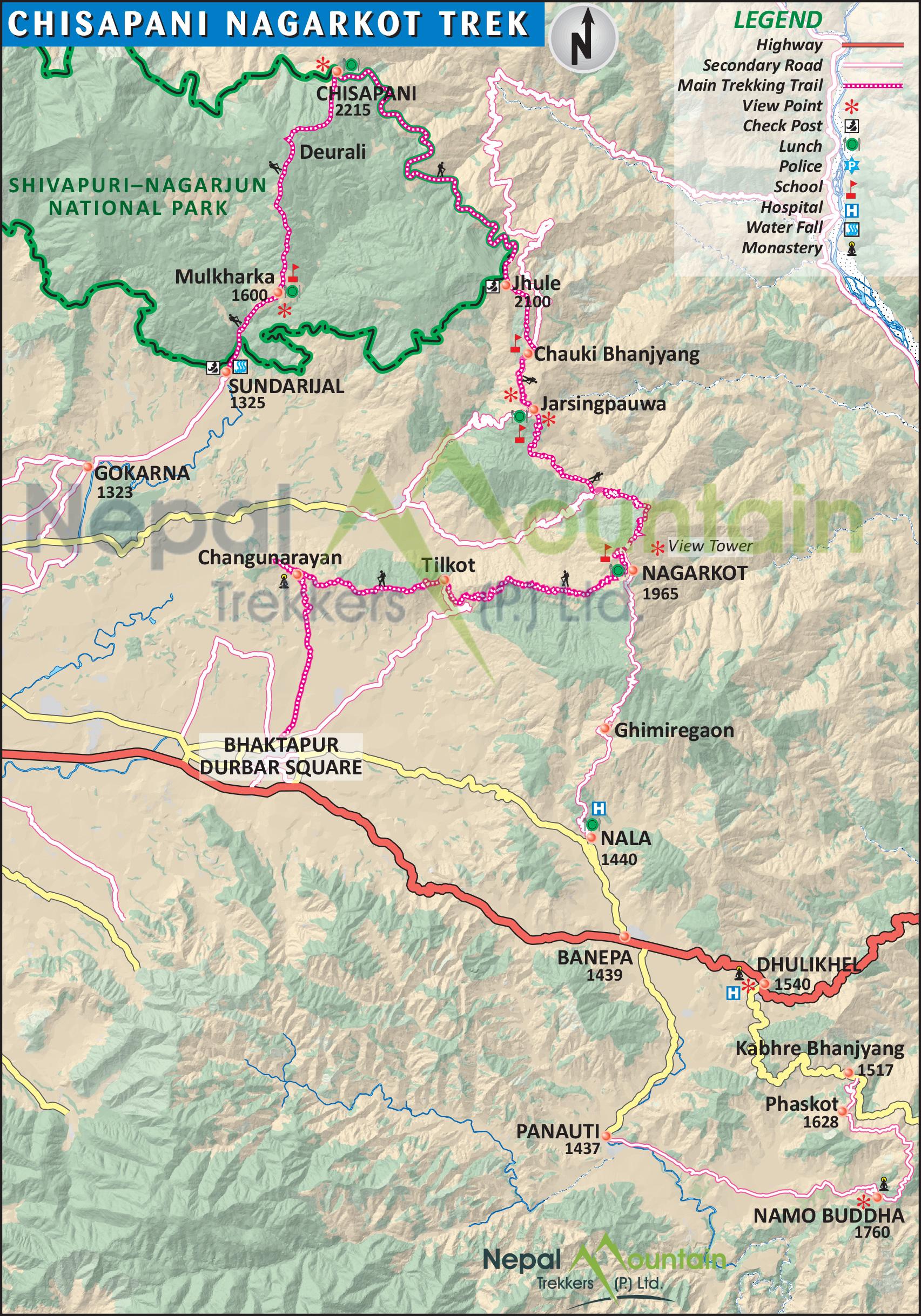 map of Chisapani Nagarkot Trekking